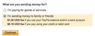 paypal charging for sending paypal to paypal friends family transaction
