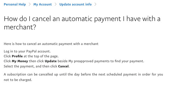 paypal how to cancel an automatic payment I have with a merchant