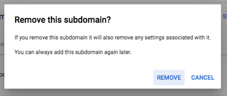 remove subdomain domain from google adsense
