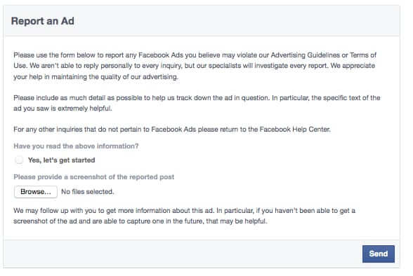 report a facebook ad