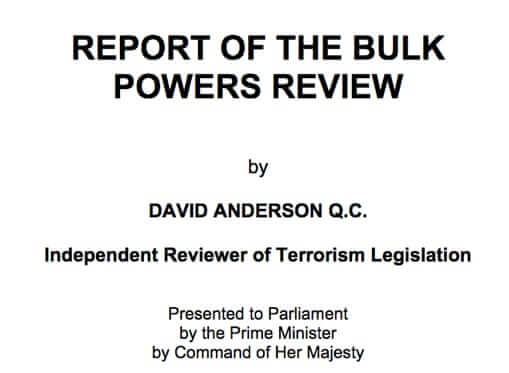 report investigatory powers bill david anderson bulk collection interception