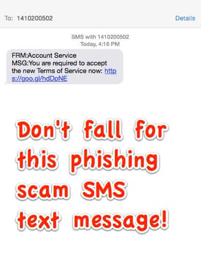 scam sms text message from 1410200502