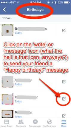 send birthday friends message facebook mobile app