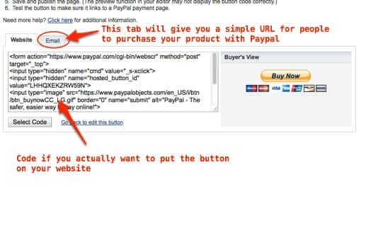 single link for paypal button to email