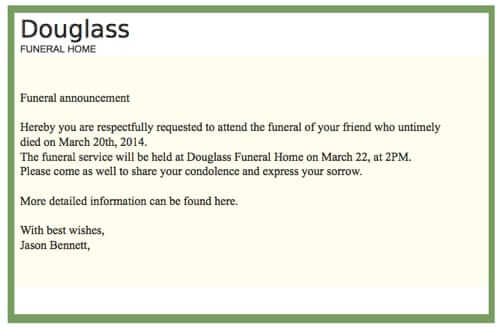 spam death notice douglass funeral home