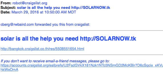 spam from robot@craigslist.org craigslist