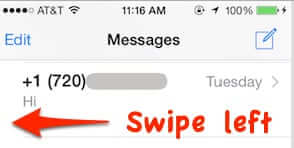 swipe left text message iphone