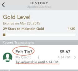 tipping with the starbucks app