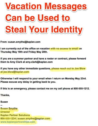 vacation messages identity theft