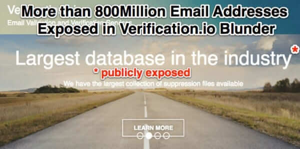 verification.io largest database in the industry publicly exposes