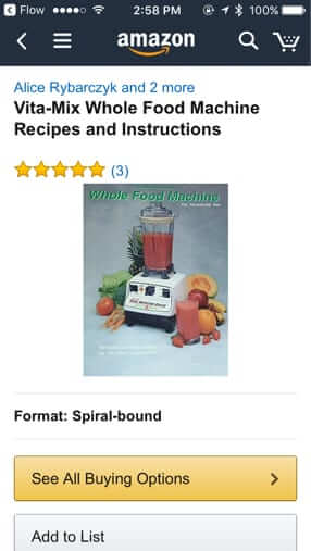 vitamix book on amazon