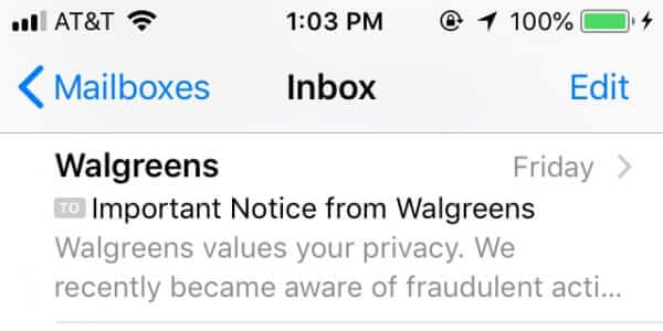 walgreens values your privacy we recently became aware of fraudulent activity