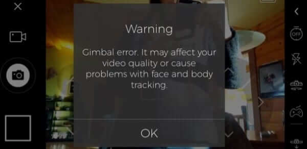warning gimbal error may affect video face body tracking passport hover error