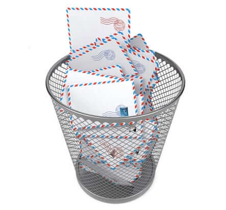 wastebasket overflowing with envelopes-1